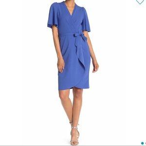 Short Flutter Sleeve Faux Wrap Dress